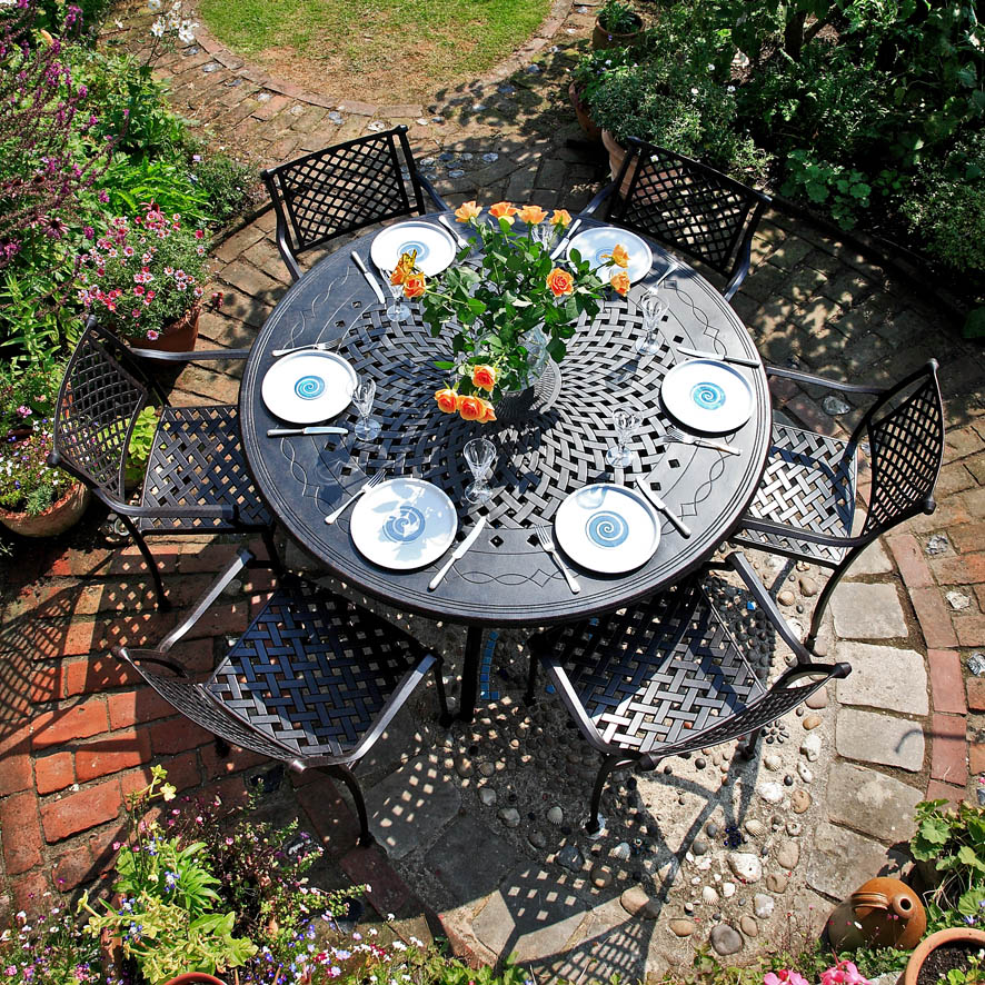 comparatif de tables rondes en aluminium le blog de lazy susan. Black Bedroom Furniture Sets. Home Design Ideas